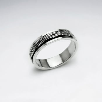 Illusions Rope Twist Dimensional Oxidized Ring