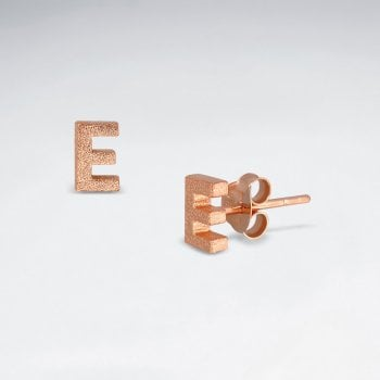 "Initial Letter ""E"" Silver Stud Earring"
