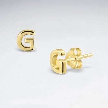 "Initial Letter ""G"" Silver Stud Earring"