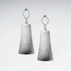 Inspired Long Silver Stud Dangle Drop Bell Shaped Earrings