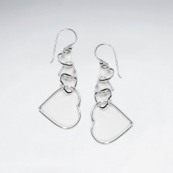Interlinking Graduated Open Hearts Earrings in Silver