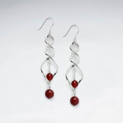 Intertwined Silver Earring with Double Round Faceted Carnelian