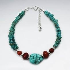 Island Breezes Turqouise & Coral Stone Bead Bracelet