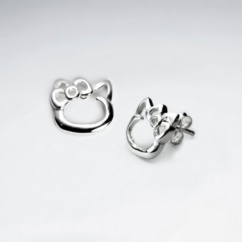 Kitty With Polished Bow Silver Stud Earrings
