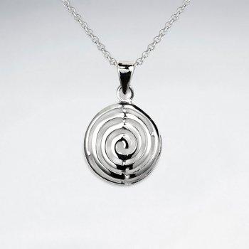 Labyrinthine Maze Pattern Polished Silver Round Circle Pendant