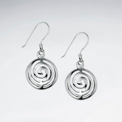 Labyrinthine Swirl Filigree Circle Shepherds Hook Earrings