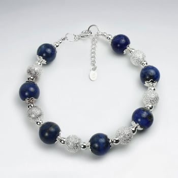 Lapis Lazuli & Sterling Silver Bead Ball Clasp Bracelet