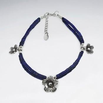 Lapis Lazuli & Sterling Silver Flower Charm Bracelet