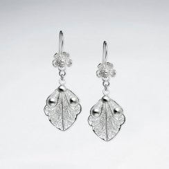 Large Filigree Leaf Design Suspended by Delicate Silver Flowers Earrings