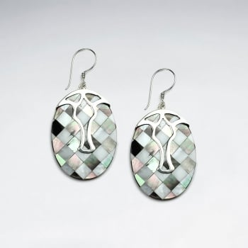 Lattice Shell Oval and Silverwork Adornment Earrings
