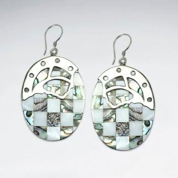 Lattice Shell OvaL Roman Silhouette Silver Accent Earrings