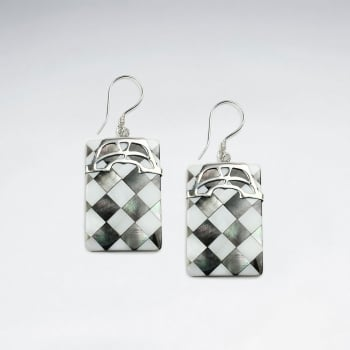 Lattice Shell Rectangle Silver Accent Dangle Earrings