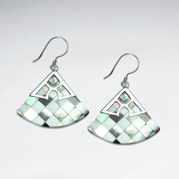 Lattice Shell & Silverwork Fan Shaped Dangle Earrings