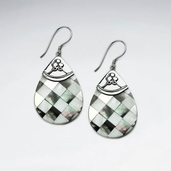 Lattice Shell Teardrop Silver Accent Earrings