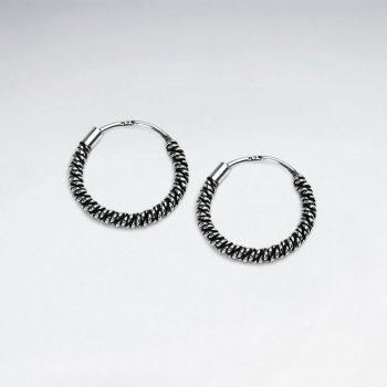 Layers of Intrigue Textured U-Hoop Oxidized Silver Earrings