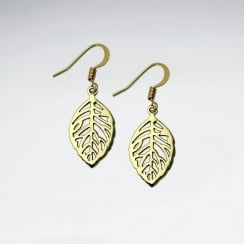 Leaf Cutout Brass Textured Dangle Hook Earrings