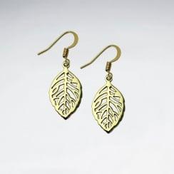 Leaf Cutout Brass Textured Dangle Hook Earrings