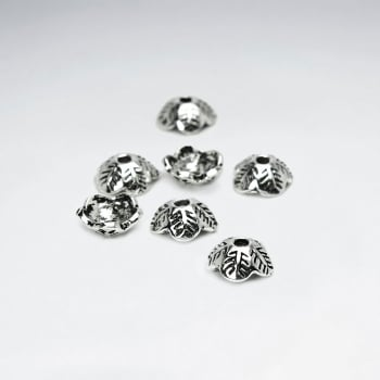 Leaf Etched Domed Bead Caps Pack Of 50 Pieces