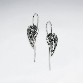 Leaf Oxidized Silver Dangle Earrings