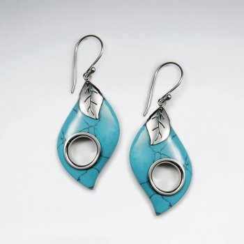 Leaf Shape Blue Turquoise With Circle Silver Earring