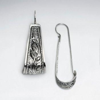 Leaf Textured Long Form Lockback Earrings In Silver