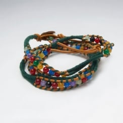Leather Tribal Bead Wrap Bracelet