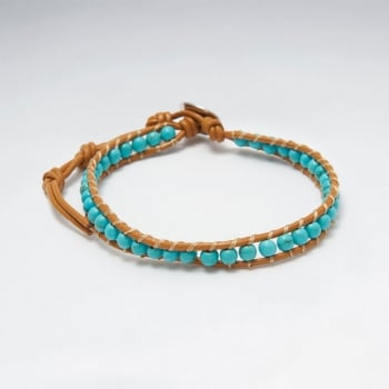 Leather & Turquoise Beaded  Bracelet