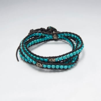 Leather Wrap Turquoise Bead Silver Studded Bracelet