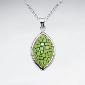 Light Green Stingray Marquise Dangling Silver Pendant