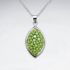Light Green Stingray Marquise Dangling Silver Pendant