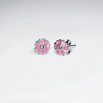 Light Pink Heart Daisy Enamel Silver Stud Earring With White CZ