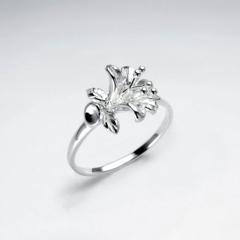Lilium Flower Silver Ring