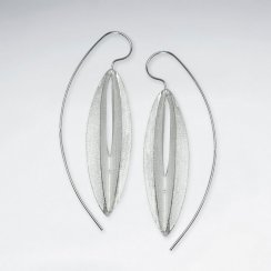 Linear Lines Modern Edge Sterling Silver Threader  Statement Earrings