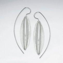 Linear Lines Modern Edge Sterling Silver Threader  Statement Earrings