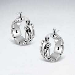 Link Hoop Chunky Earrings in Sterling Silver