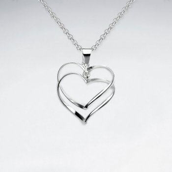 Linked Open Hearts Sterling Silver Pendant