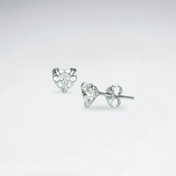 Little Heart Shape CZ Stud Earring
