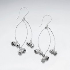 Little Silver Flower Drop Hook Earrings