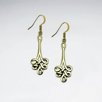 Long Knotted Brass Dangle Hook Earrings