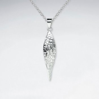 Long Marquise Shape Hammered Silver Pendant