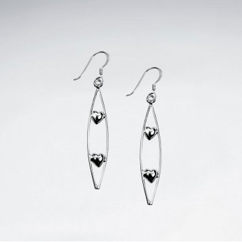 Long Open Oval Drop Dangle Earrings With Accents