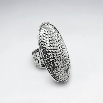 Long Oval Dotted Sterling Silver Ring