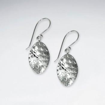 Long Oval Textured Handmade Silver Drop Earrings