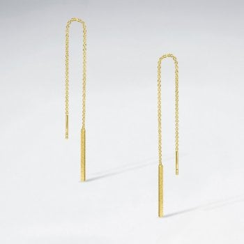 Long Sterling Silver Threader Chain Bar Earrings