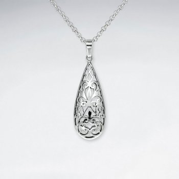 Long Teardrop Oxidized Polished Silver Filigree Pendant