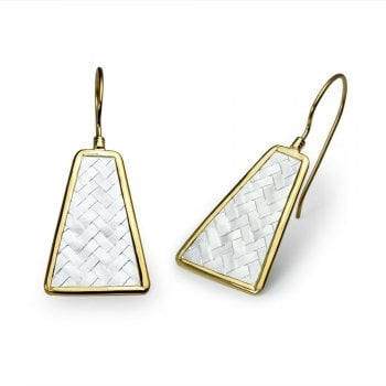 Long Trapezium Shaped Delicate Texture Dangle Earrings in Silver