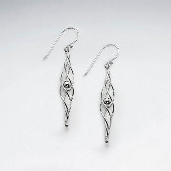Long Twisted Silver Drop Dangle Hook Earrings