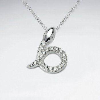 Looped Cubic Zirconia Snake Silver Pendant