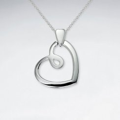 Looped Open Sideways Heart Silver Pendant