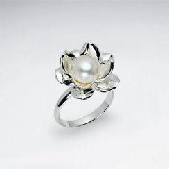 Lotus Flower Inspired Pearl and Silver Ring